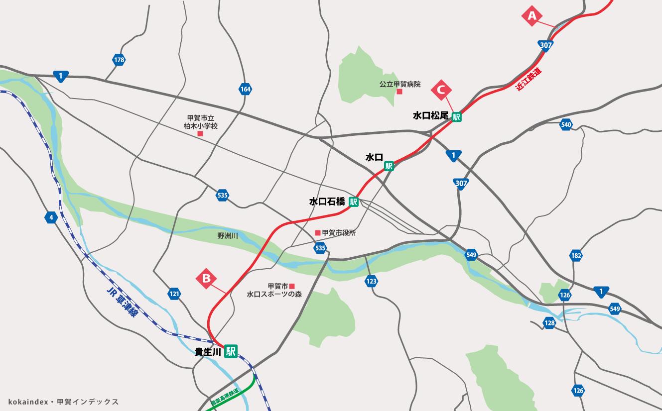 甲賀市の近江鉄道の写真撮影スポットマップ